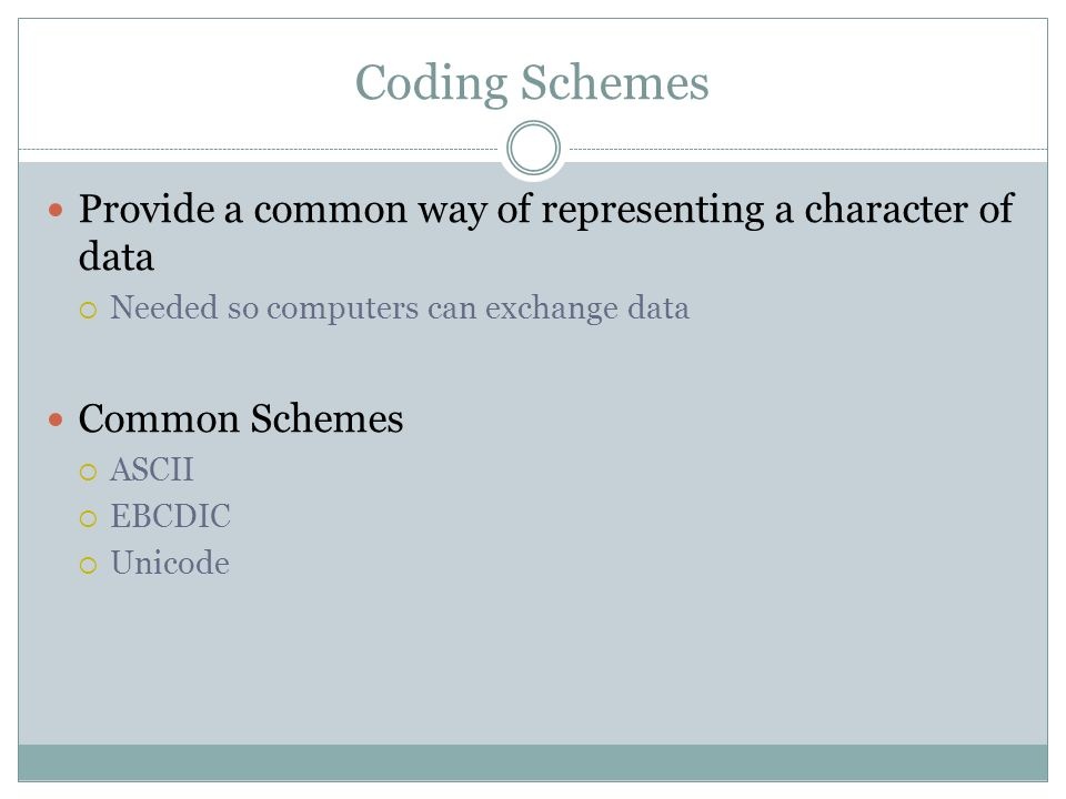 Coding Schemes Provide a common way of representing a character of data Needed so computers can exchange data Common Schemes ASCII EBCDIC Unicode