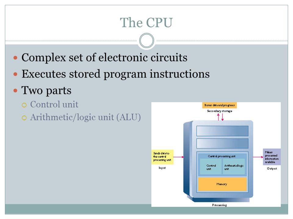 Complex set of electronic circuits Executes stored program instructions Two parts Control unit Arithmetic/logic unit (ALU)