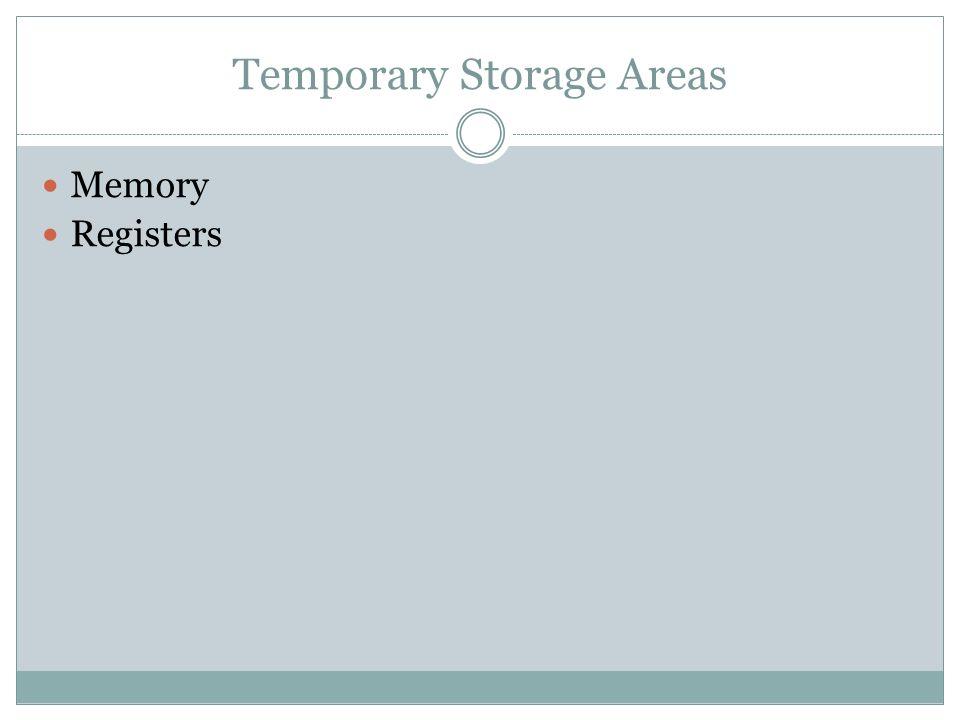 Temporary Storage Areas Memory Registers
