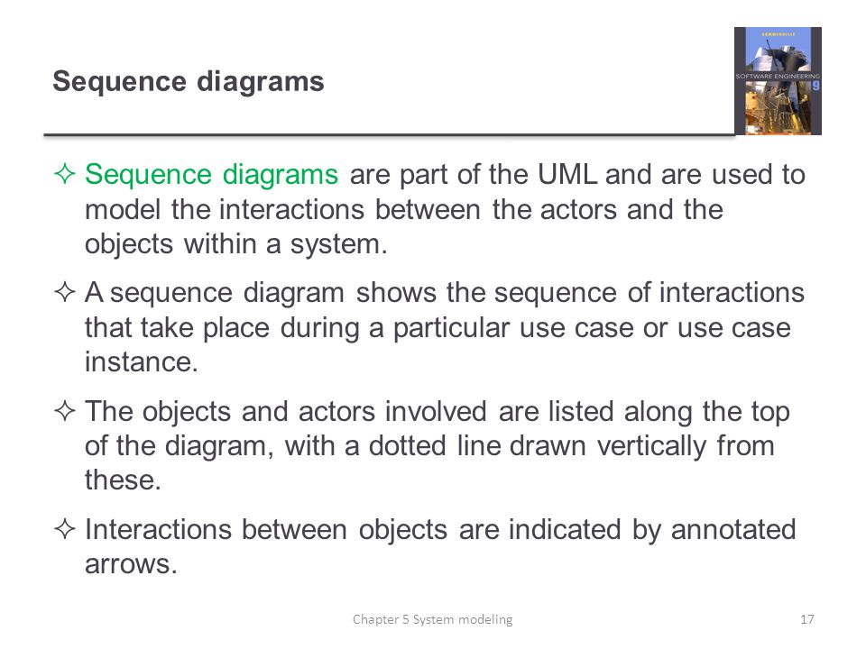 Sequence diagrams Sequence diagrams are part of the UML and are used to model the interactions between the actors and the objects within a system. A s