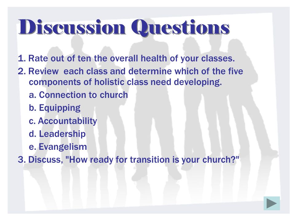 Discussion Questions 1. Rate out of ten the overall health of your classes. 2. Review each class and determine which of the five components of holisti