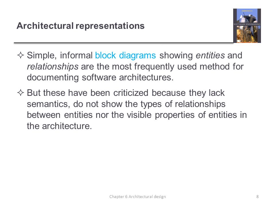 Architectural representations Simple, informal block diagrams showing entities and relationships are the most frequently used method for documenting s