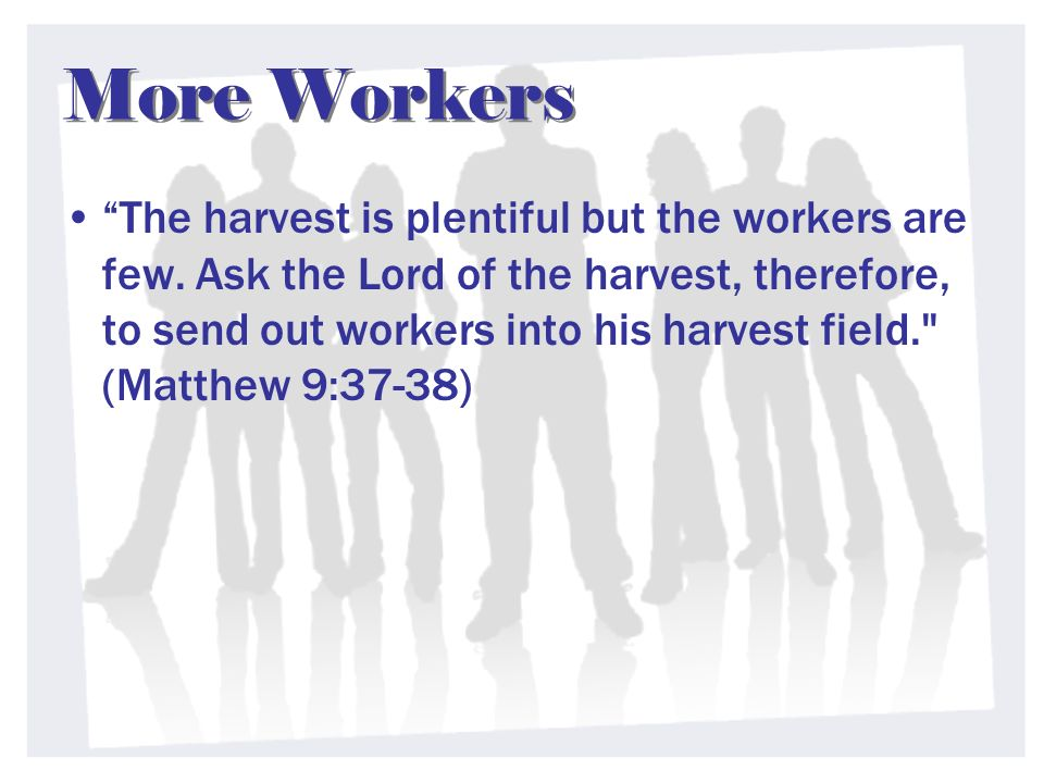 More Workers The harvest is plentiful but the workers are few. Ask the Lord of the harvest, therefore, to send out workers into his harvest field.