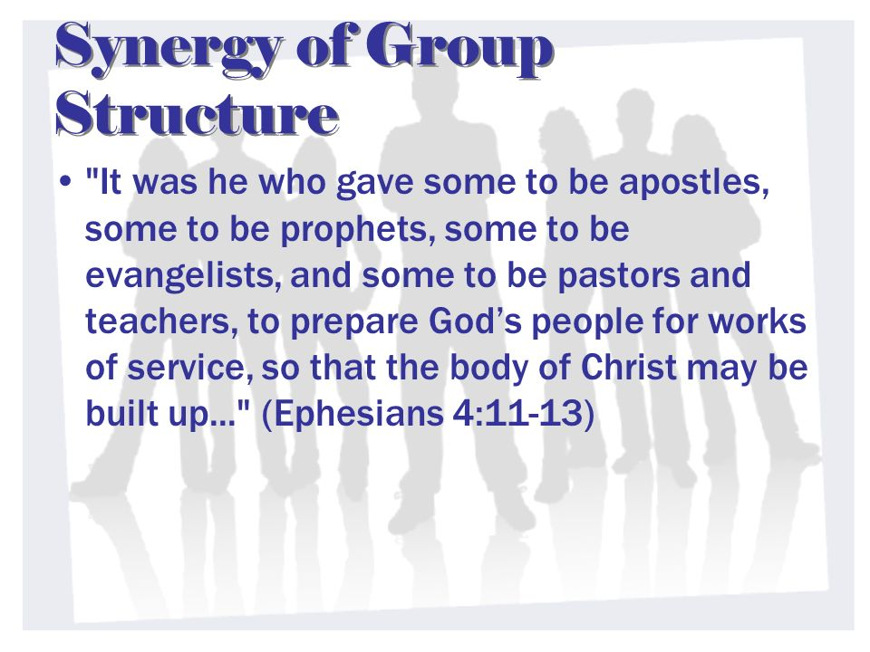 Synergy of Group Structure It was he who gave some to be apostles, some to be prophets, some to be evangelists, and some to be pastors and teachers, to prepare Gods people for works of service, so that the body of Christ may be built up... (Ephesians 4:11-13)