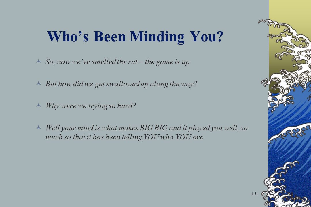 13 Whos Been Minding You? 11 So, now weve smelled the rat – the game is up But how did we get swallowed up along the way? Why were we trying so hard?
