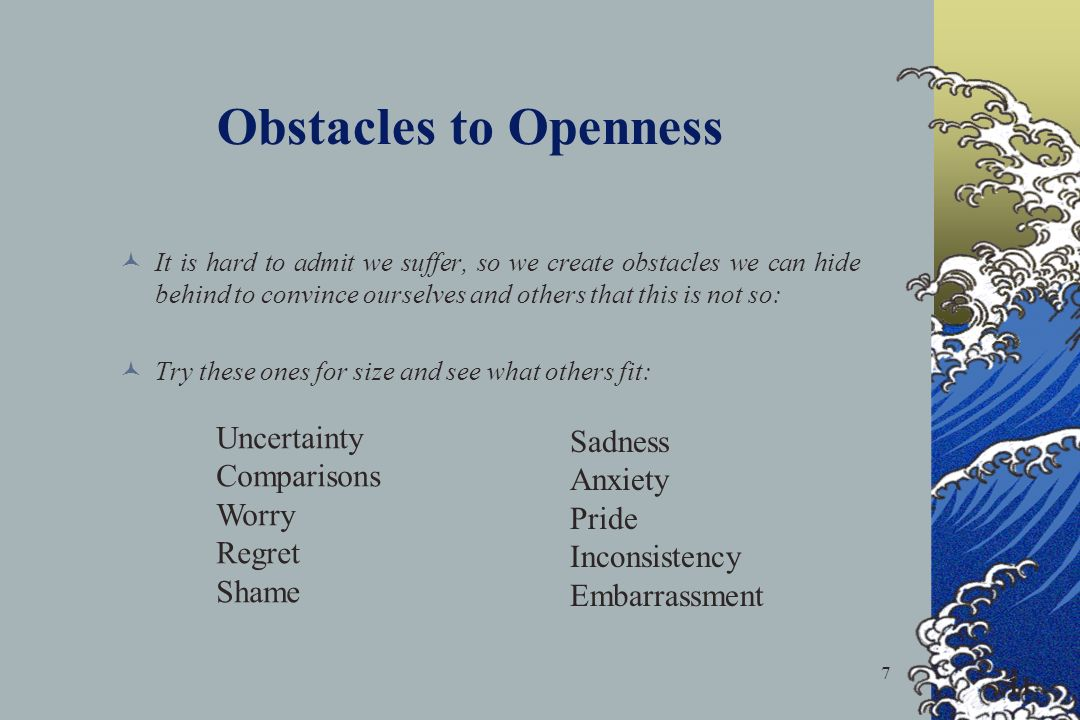 7 Obstacles to Openness It is hard to admit we suffer, so we create obstacles we can hide behind to convince ourselves and others that this is not so: Try these ones for size and see what others fit: 11 Uncertainty Comparisons Worry Regret Shame Sadness Anxiety Pride Inconsistency Embarrassment