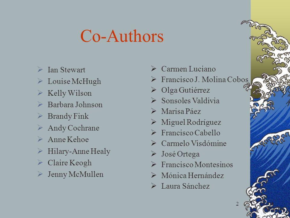 2 Co-Authors Ian Stewart Louise McHugh Kelly Wilson Barbara Johnson Brandy Fink Andy Cochrane Anne Kehoe Hilary-Anne Healy Claire Keogh Jenny McMullen