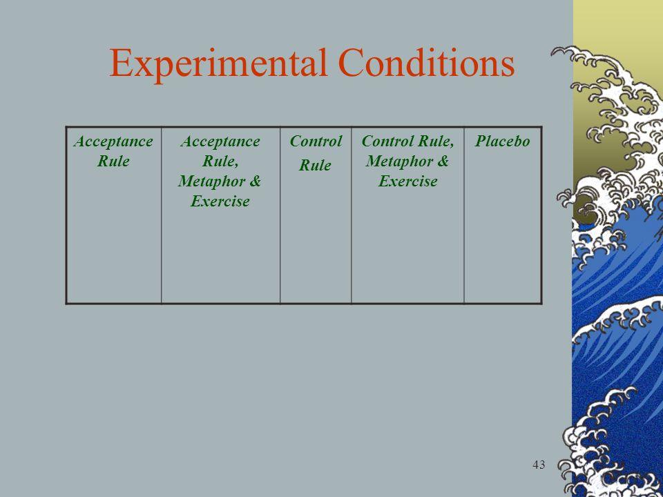 43 Acceptance Rule Acceptance Rule, Metaphor & Exercise Control Rule Control Rule, Metaphor & Exercise Placebo Experimental Conditions