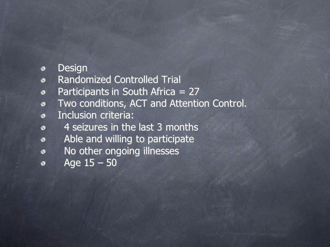 Design Design Randomized Controlled Trial Randomized Controlled Trial Participants in South Africa = 27 Participants in South Africa = 27 Two conditio
