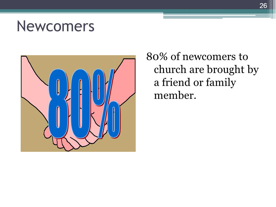 Newcomers 80% of newcomers to church are brought by a friend or family member. 26