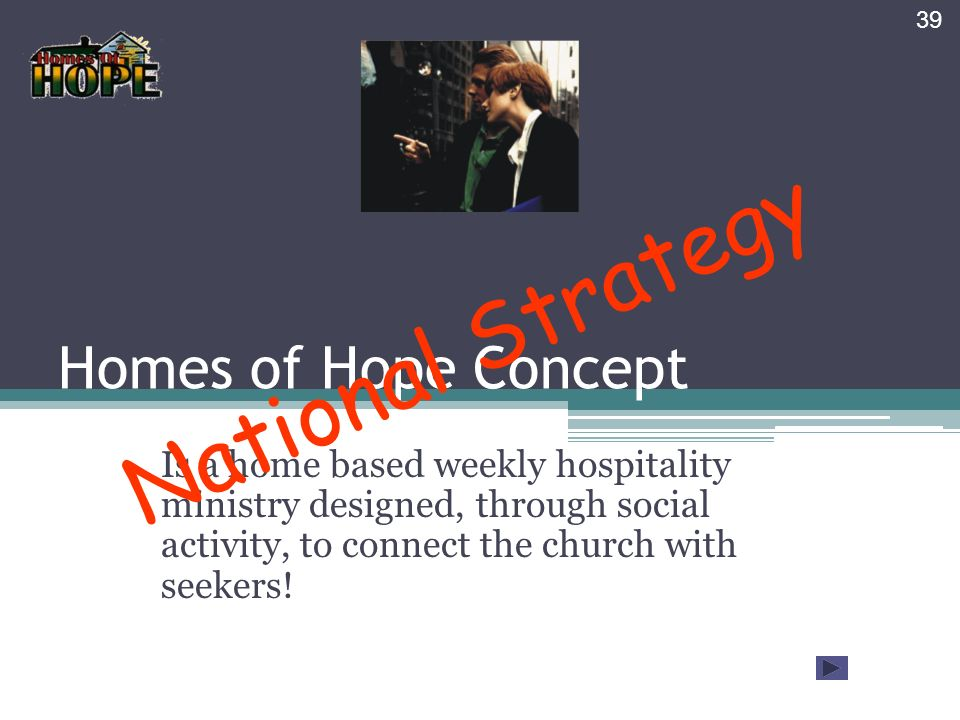 Homes of Hope Concept Is a home based weekly hospitality ministry designed, through social activity, to connect the church with seekers.