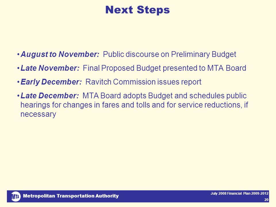 Metropolitan Transportation Authority July 2008 Financial Plan 2009-2012 20 Next Steps August to November: Public discourse on Preliminary Budget Late November: Final Proposed Budget presented to MTA Board Early December: Ravitch Commission issues report Late December: MTA Board adopts Budget and schedules public hearings for changes in fares and tolls and for service reductions, if necessary