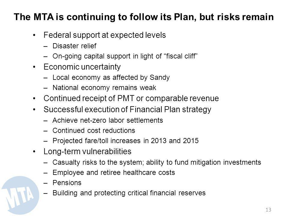 The MTA is continuing to follow its Plan, but risks remain Federal support at expected levels –Disaster relief –On-going capital support in light of fiscal cliff Economic uncertainty –Local economy as affected by Sandy –National economy remains weak Continued receipt of PMT or comparable revenue Successful execution of Financial Plan strategy –Achieve net-zero labor settlements –Continued cost reductions –Projected fare/toll increases in 2013 and 2015 Long-term vulnerabilities –Casualty risks to the system; ability to fund mitigation investments –Employee and retiree healthcare costs –Pensions –Building and protecting critical financial reserves 13