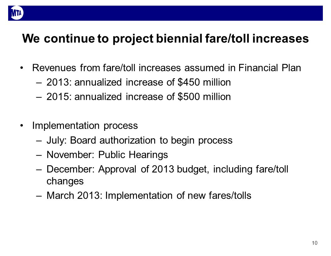 We continue to project biennial fare/toll increases Revenues from fare/toll increases assumed in Financial Plan –2013: annualized increase of $450 million –2015: annualized increase of $500 million Implementation process –July: Board authorization to begin process –November: Public Hearings –December: Approval of 2013 budget, including fare/toll changes –March 2013: Implementation of new fares/tolls 10