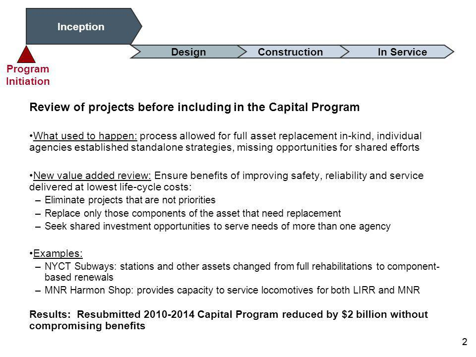 1 Validate Benefits Capital Program Reviews to Ensure Best Value Key intervention points where targeted analysis of needs, alternatives, and outcomes ensure: –Strategic Alignment –Lowest life-cycle cost solution –Intended benefit 1 ConstructionDesignInception In Service Analytical Review Lessons Learned Program Initiation To deliver planned benefits at the lowest life- cycle cost