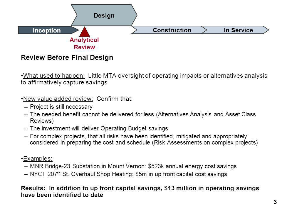 2 Review of projects before including in the Capital Program What used to happen: process allowed for full asset replacement in-kind, individual agencies established standalone strategies, missing opportunities for shared efforts New value added review: Ensure benefits of improving safety, reliability and service delivered at lowest life-cycle costs: –Eliminate projects that are not priorities –Replace only those components of the asset that need replacement –Seek shared investment opportunities to serve needs of more than one agency Examples: –NYCT Subways: stations and other assets changed from full rehabilitations to component- based renewals –MNR Harmon Shop: provides capacity to service locomotives for both LIRR and MNR Results: Resubmitted 2010-2014 Capital Program reduced by $2 billion without compromising benefits 2 ConstructionDesign Inception In Service Program Initiation