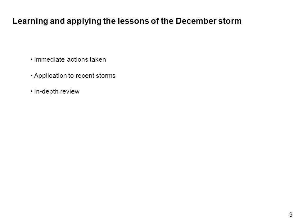 Learning and applying the lessons of the December storm Immediate actions taken Application to recent storms In-depth review 9