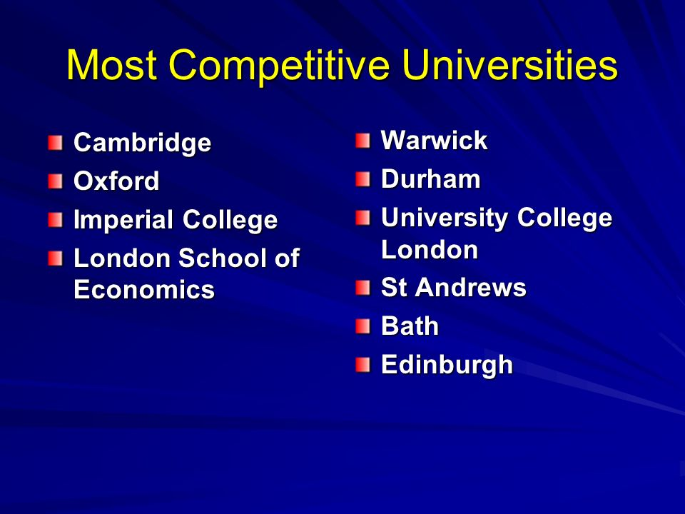Most Competitive Universities CambridgeOxford Imperial College London School of Economics WarwickDurham University College London St Andrews BathEdinburgh