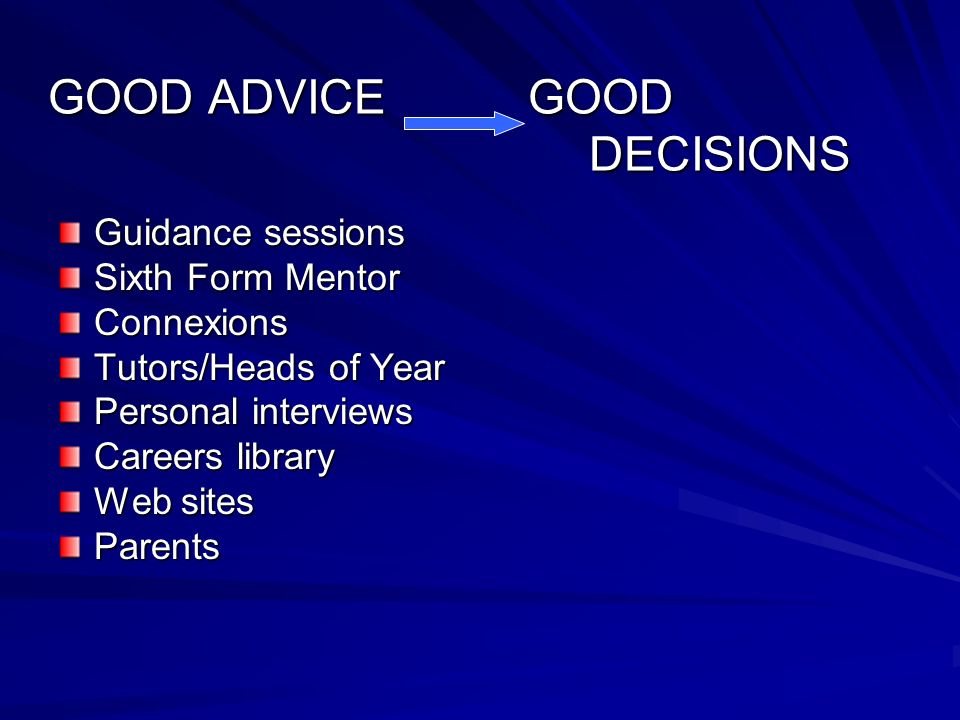 GOOD ADVICE GOOD DECISIONS Guidance sessions Sixth Form Mentor Connexions Tutors/Heads of Year Personal interviews Careers library Web sites Parents