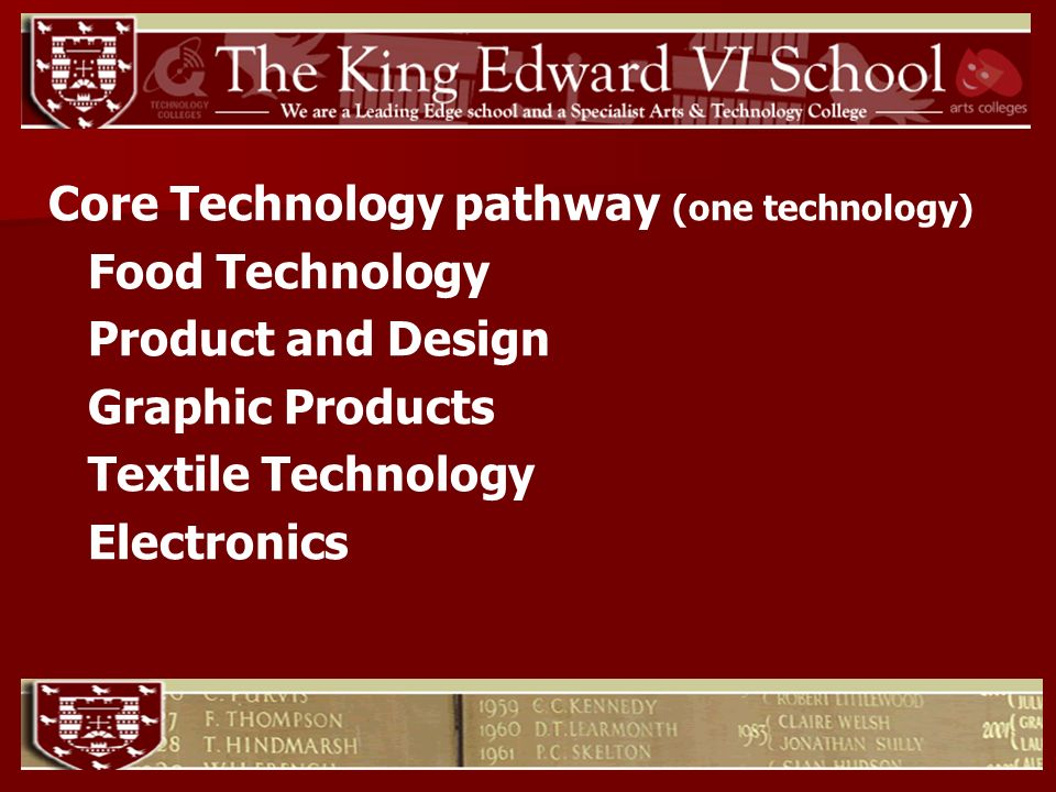 Core Technology pathway (one technology) Food Technology Product and Design Graphic Products Textile Technology Electronics