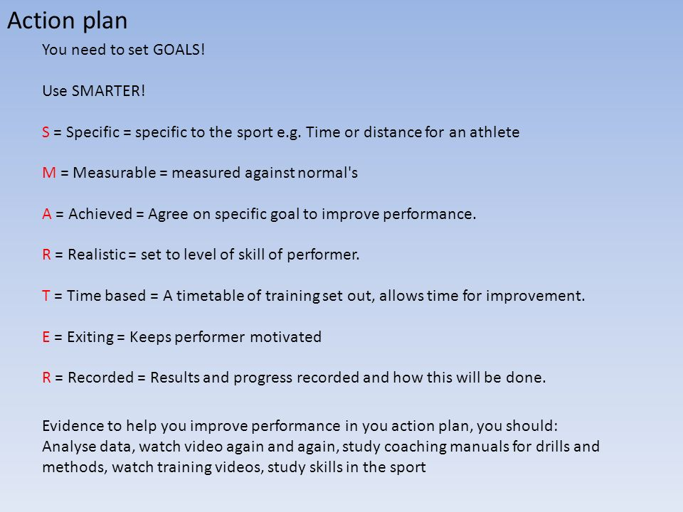 Action plan You need to set GOALS! Use SMARTER! S = Specific = specific to the sport e.g. Time or distance for an athlete M = Measurable = measured ag