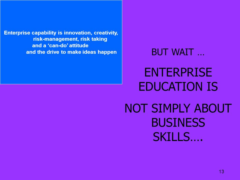 13 BUT WAIT … ENTERPRISE EDUCATION IS NOT SIMPLY ABOUT BUSINESS SKILLS…. Enterprise capability is innovation, creativity, risk-management, risk taking
