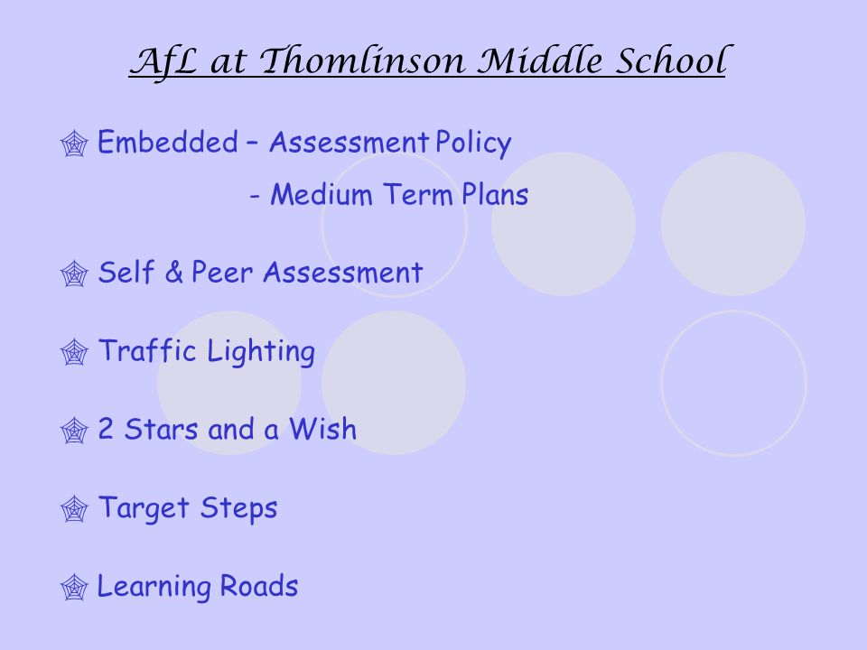 AfL at Thomlinson Middle School Traffic Lighting 2 Stars and a Wish Target Steps Learning Roads Self & Peer Assessment Embedded – Assessment Policy - Medium Term Plans