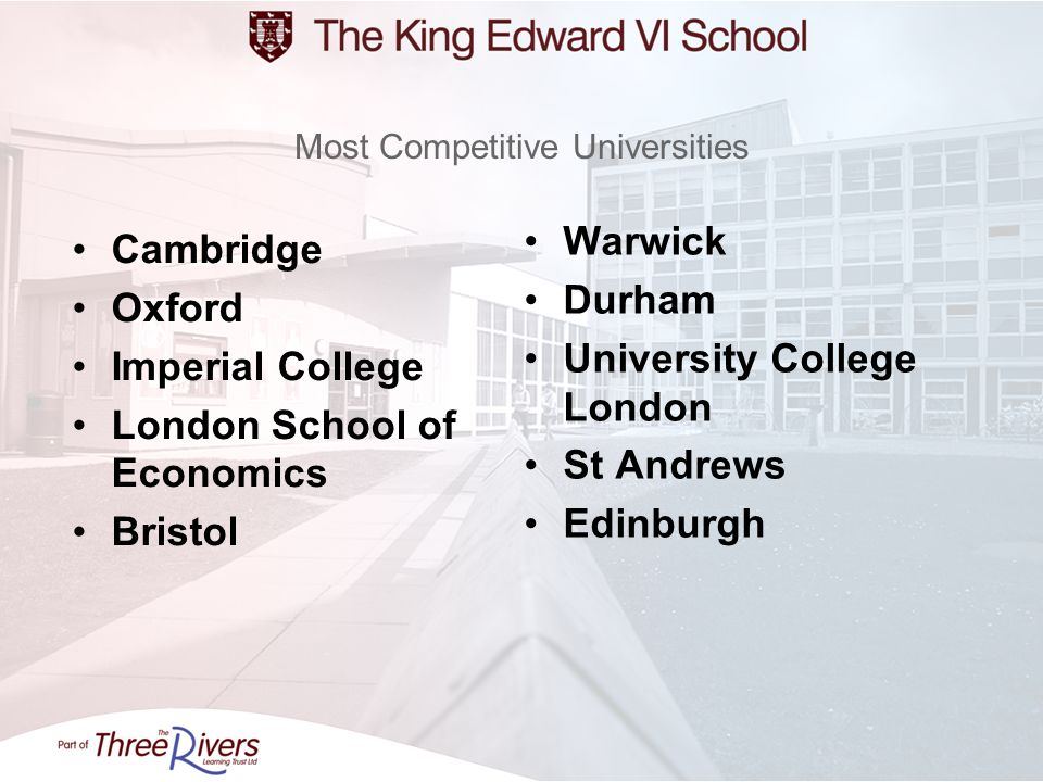 Most Competitive Universities Cambridge Oxford Imperial College London School of Economics Bristol Warwick Durham University College London St Andrews