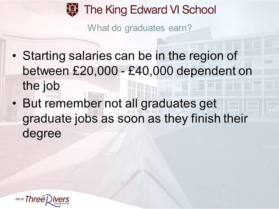 What do graduates earn? Starting salaries can be in the region of between £20,000 - £40,000 dependent on the job But remember not all graduates get gr