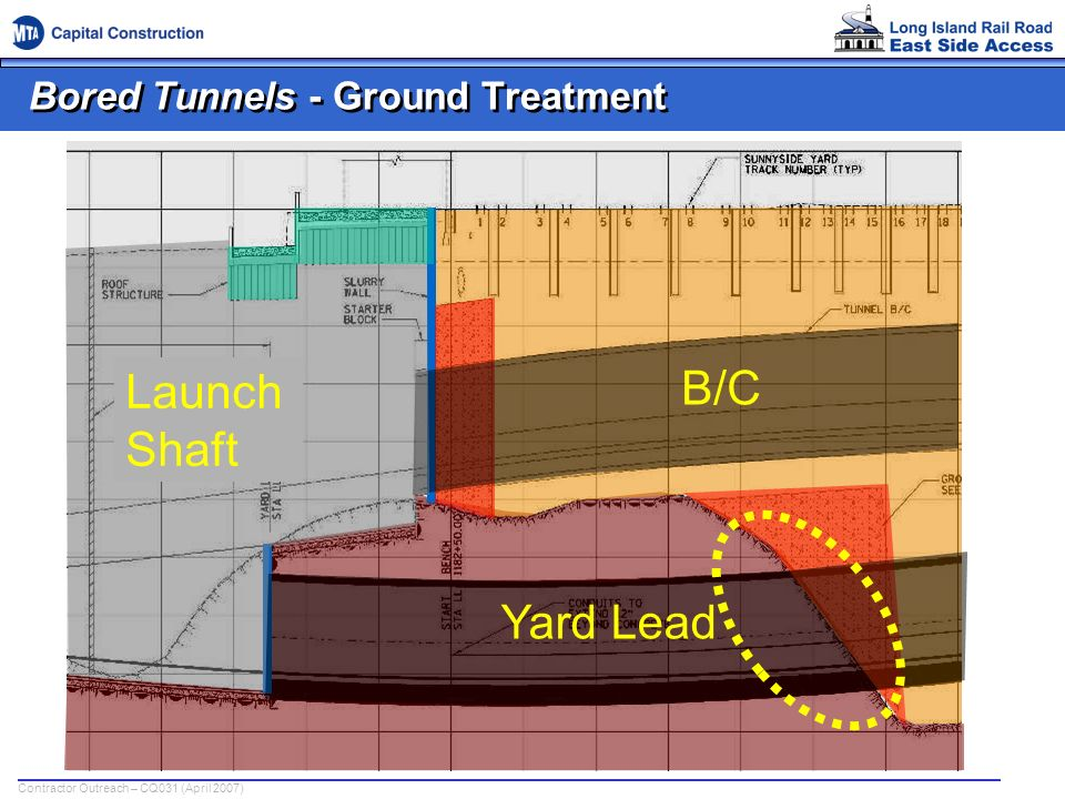 Contractor Outreach – CQ031 (April 2007) Bored Tunnels - Ground Treatment B/C Yard Lead Launch Shaft