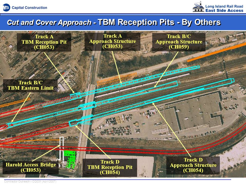 Contractor Outreach – CQ031 (April 2007) Cut and Cover Approach - TBM Reception Pits - By Others Track A TBM Reception Pit (CH053) Track A Approach St