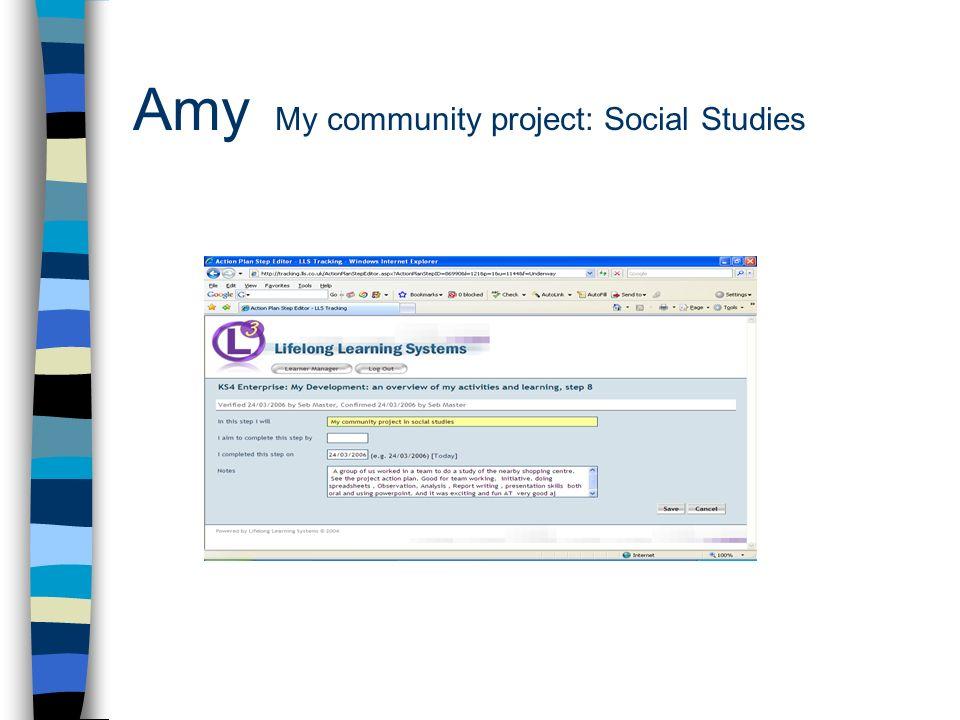 Amy My community project: Social Studies