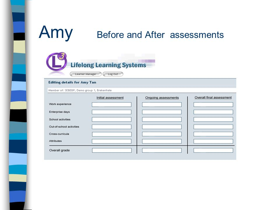 Amy Before and After assessments