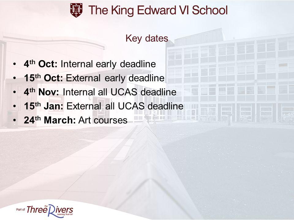 4 th Oct: Internal early deadline 15 th Oct: External early deadline 4 th Nov: Internal all UCAS deadline 15 th Jan: External all UCAS deadline 24 th March: Art courses Key dates