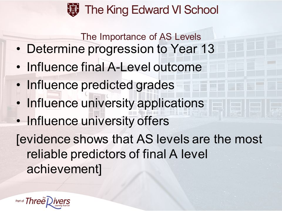The Importance of AS Levels Determine progression to Year 13 Influence final A-Level outcome Influence predicted grades Influence university applicati