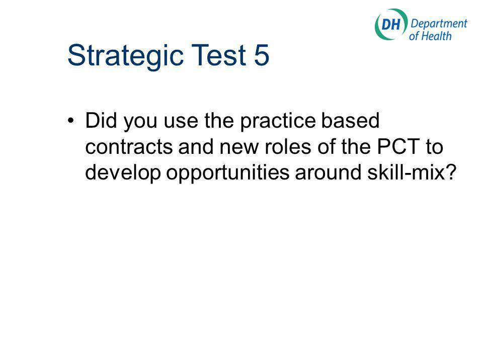 Did you use the practice based contracts and new roles of the PCT to develop opportunities around skill-mix.