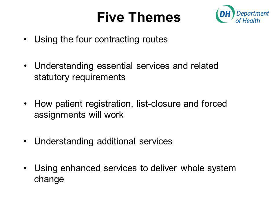 Five Themes Using the four contracting routes Understanding essential services and related statutory requirements How patient registration, list-closure and forced assignments will work Understanding additional services Using enhanced services to deliver whole system change
