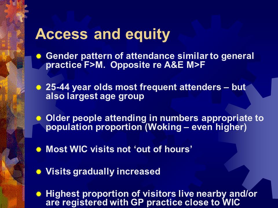 Access and equity Gender pattern of attendance similar to general practice F>M. Opposite re A&E M>F 25-44 year olds most frequent attenders – but also