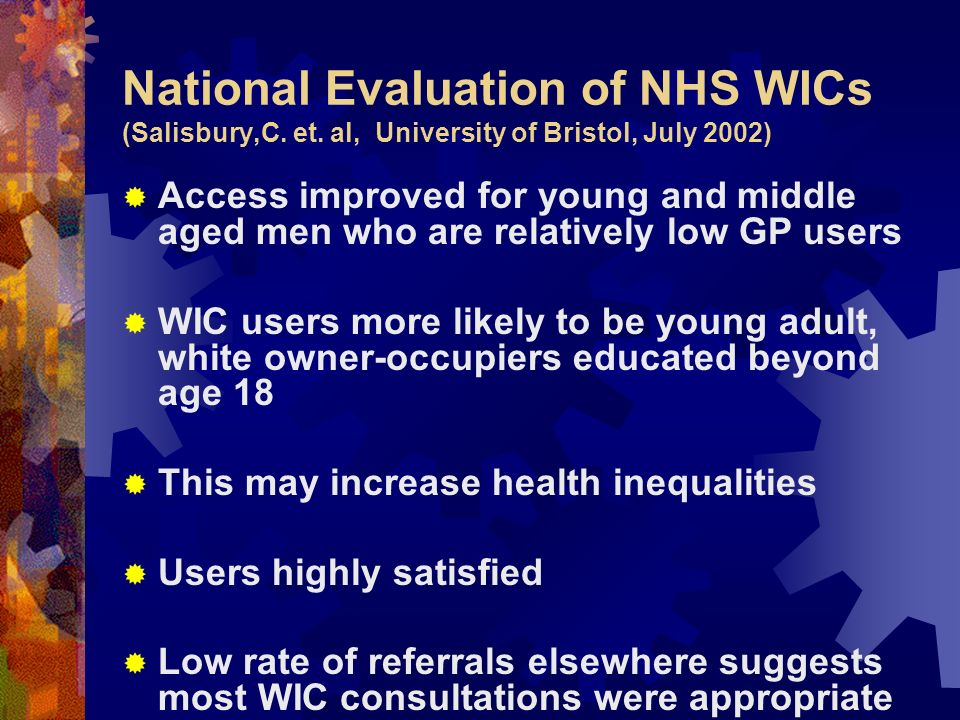 National Evaluation of NHS WICs (Salisbury,C. et.