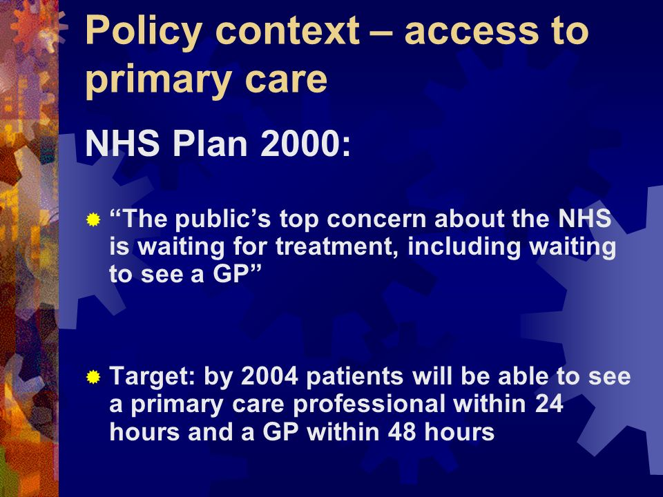 Policy context – access to primary care NHS Plan 2000: The publics top concern about the NHS is waiting for treatment, including waiting to see a GP Target: by 2004 patients will be able to see a primary care professional within 24 hours and a GP within 48 hours