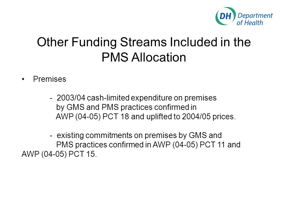 Other Funding Streams Included in the PMS Allocation Premises - 2003/04 cash-limited expenditure on premises by GMS and PMS practices confirmed in AWP