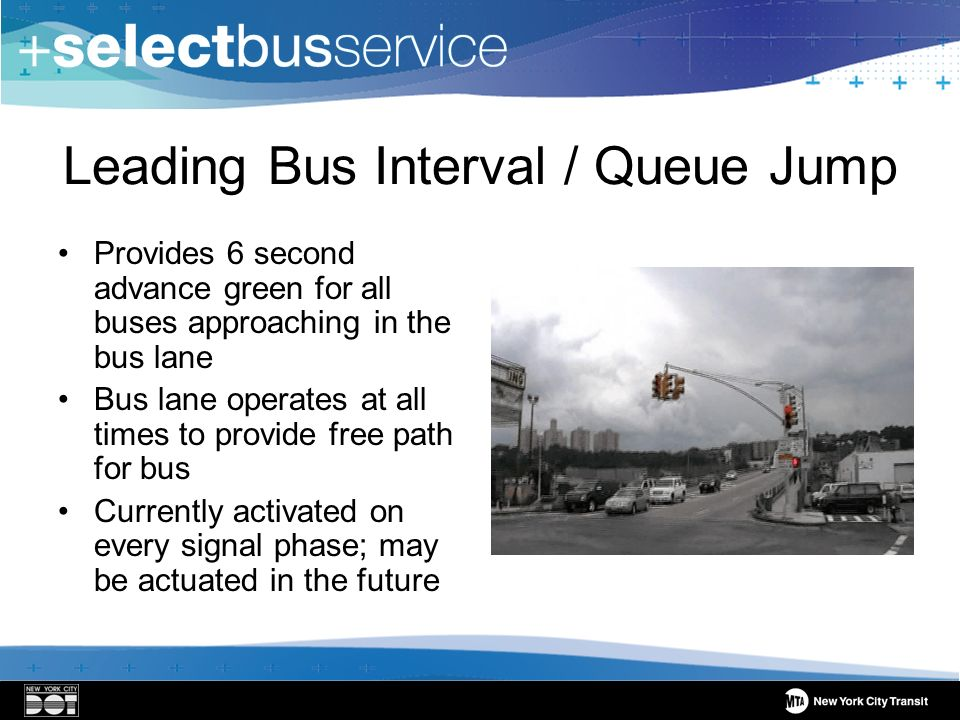 Leading Bus Interval / Queue Jump Provides 6 second advance green for all buses approaching in the bus lane Bus lane operates at all times to provide free path for bus Currently activated on every signal phase; may be actuated in the future