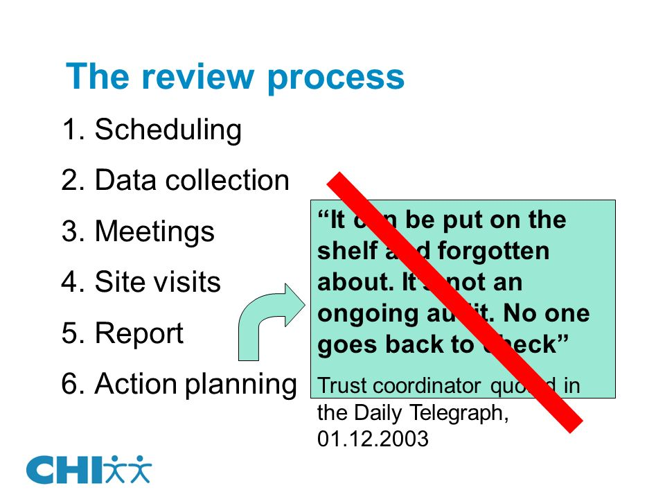 The review process Scheduling Data collection Meetings Site visits Report Action planning It can be put on the shelf and forgotten about.