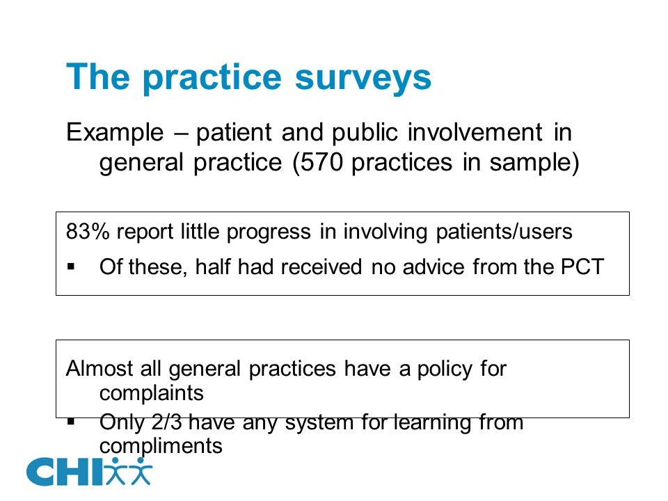 The practice surveys Example – patient and public involvement in general practice (570 practices in sample) 83% report little progress in involving patients/users Of these, half had received no advice from the PCT Almost all general practices have a policy for complaints Only 2/3 have any system for learning from compliments