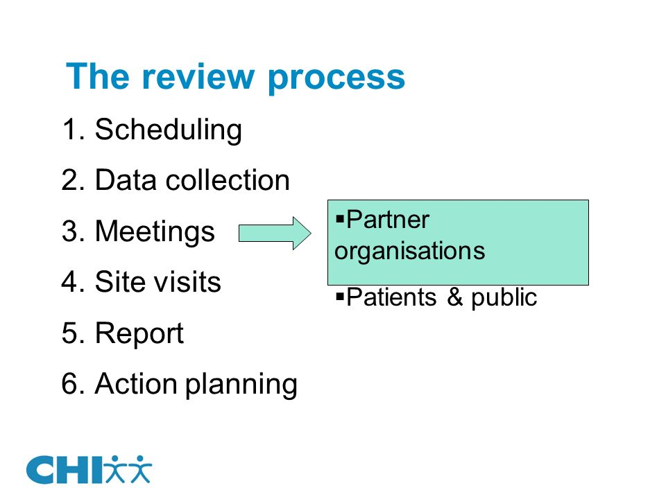 The review process Scheduling Data collection Meetings Site visits Report Action planning Partner organisations Patients & public