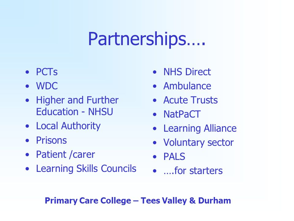 Partnerships…. PCTs WDC Higher and Further Education - NHSU Local Authority Prisons Patient /carer Learning Skills Councils NHS Direct Ambulance Acute