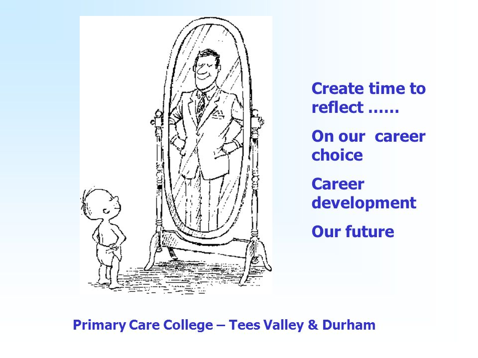 Primary Care College – Tees Valley & Durham Create time to reflect …… On our career choice Career development Our future