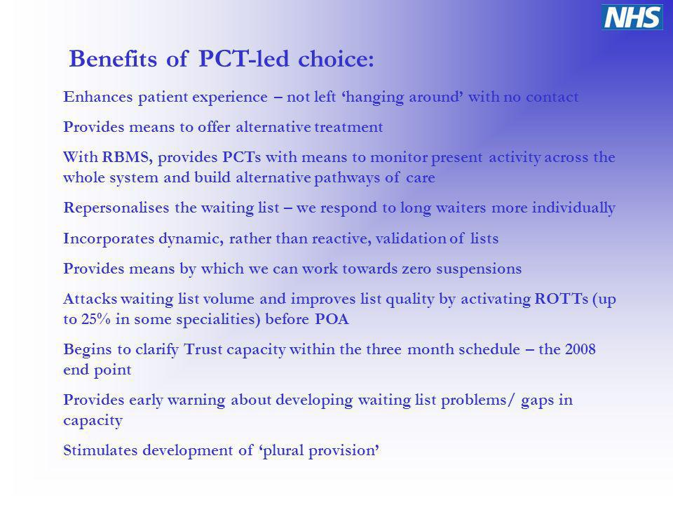 Benefits of PCT-led choice: Enhances patient experience – not left hanging around with no contact Provides means to offer alternative treatment With RBMS, provides PCTs with means to monitor present activity across the whole system and build alternative pathways of care Repersonalises the waiting list – we respond to long waiters more individually Incorporates dynamic, rather than reactive, validation of lists Provides means by which we can work towards zero suspensions Attacks waiting list volume and improves list quality by activating ROTTs (up to 25% in some specialities) before POA Begins to clarify Trust capacity within the three month schedule – the 2008 end point Provides early warning about developing waiting list problems/ gaps in capacity Stimulates development of plural provision