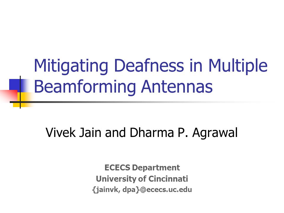 Deafness – Proposed Solutions (Multiple Beam Antennas) Proactive approach A node transmits control messages in all free beams Reactive approach A node transmits control messages in all beams that are free and have potential transmitters