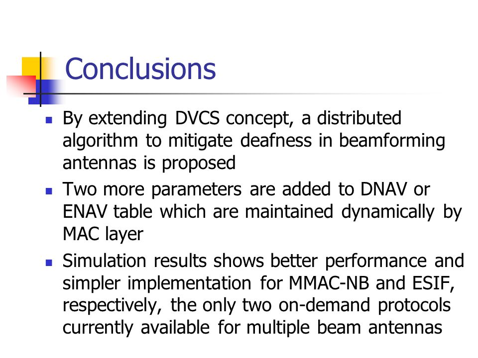 Conclusions By extending DVCS concept, a distributed algorithm to mitigate deafness in beamforming antennas is proposed Two more parameters are added